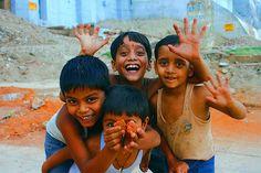 laughing children, Uttar Pradesh, India