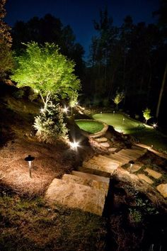 Beautiful example of stone steps down to this putting green area
