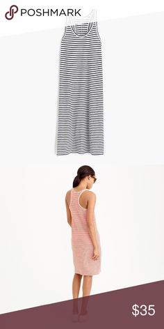 J. Crew Racerback Striped Tank Dress Navy/Ivory Wear this slubby cotton dress while you're running errands on the weekend, or when you're sitting by the pool on vacation.  Cotton. Machine wash. Import. J. Crew Dresses Mini