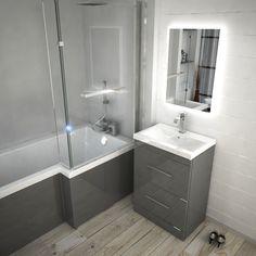 Mesmerizing Fiberglass shower remodel ideas tips,Walk in shower remodel ideas and Shower remodel tile master bath tips. Small Bathroom With Bath, L Shaped Bathroom, Bathroom Design Small, Bathroom Layout, Bathroom Interior Design, Modern Bathroom, Bathroom Grey, Small Grey Bathrooms, Family Bathroom
