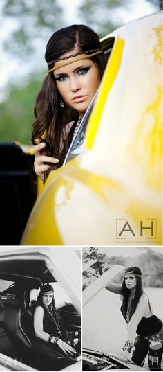 I love the yellow muscle car too.  Amanda's conceptual shoot with Jessica. www.amandahollowa...