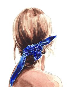 ART PRINT Girl with Hair Bun and Blue Bandana Giclee Watercolor Painting Wall Home Decor Fashion Illustration Beach Hair Vacation Summer Tan Watercolour Hair, Watercolor Girl, Watercolor Fashion, Watercolor Portraits, Watercolor Paintings, Fashion Painting, Painting Of Girl, Painting Art, Bandana Hairstyles