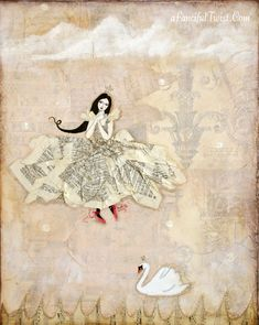 Swan Dance is a print of an original painting. Printed on matte archival fine art paper with archival pigment ink, which is waterproof and has a
