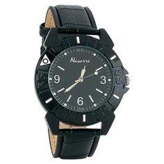 Navarre™ Men's Quartz Watch w/ Black Faux Leather Band New $14.00