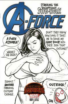 She-Hulk Sketch Cover by Frank Cho