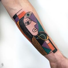 Picasso Inspired Portrait Tattoo by Marta Kudu Sketch Style Tattoos, Tattoo Design Drawings, Tattoo Designs, Geometric Tattoo Stencil, Tattoo Stencils, Geometric Tattoos, Black Tattoos, Body Art Tattoos, Hand Tattoos