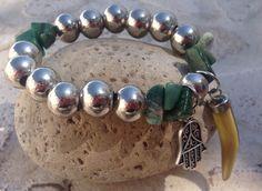 Pulseras elastizadas cuentas grandes, dije mano hamsa y cuerno de gemas con piedras jaspe verdes https://m.facebook.com/GypsyQueen-753799717990262/