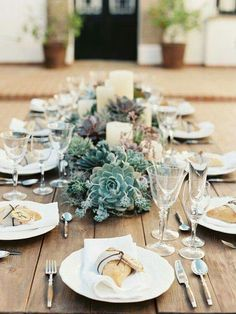 Low Wedding Centerpieces that Will Steal the Show You can pack so many succulents or cut flowers into a planter box, all while keeping the centerpieces compact. Above, this sweetheart table features a beautiful combination of succulent-filled boxes on the Succulent Wedding Centerpieces, Wedding Table Flowers, Candle Centerpieces, Wedding Table Centerpieces, Wedding Decorations, Pillar Candles, Decor Wedding, Wedding Ideas, Wedding Rustic