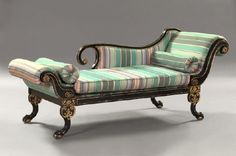247: Regency-Style Ebonized and Parcel-Gilt Recamier : Lot 247