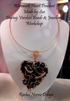 Wirework heart Pendant made by Sue, during Verchiel Beads and jewellery workshop.  Rachel Norris inspired Design.