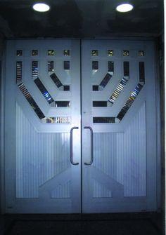 Stainless steel entry doors.