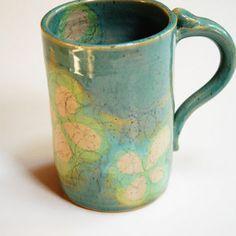 Oversize coffee mug,ladies' teal mug,large ceramic mug,pottery coffee mug,big clay cup,womens' pottery cup,four leaf clover mug,Teal tea mug