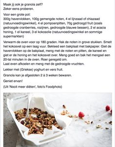 Granola door Sandra Bekkari #sandrabekkari Breakfast Drinks Healthy, Breakfast On The Go, Granola, Muesli, Pureed Food Recipes, Healthy Recipes, Healthy Snacks, I Want Food, Low Sugar Recipes