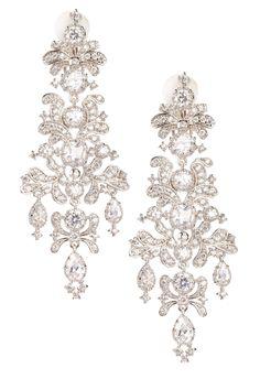CZ by Kenneth Jay Lane Clear CZ Edwardian Chandelier Earrings