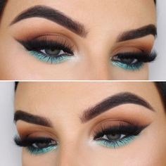 Festival Eye Makeup Ideas Green Eyes Pop of Teal Eye Shadow Teal Makeup, Skin Makeup, Eyeshadow Makeup, Pop Of Color Eyeshadow, Makeup Goals, Makeup Inspo, Makeup Trends, Makeup Ideas, Makeup Quiz