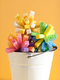 Colorful sponges for water fights.  Just right for a summer birthday party!