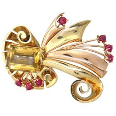 Retro Citrine Ruby Gold Brooch Pin | From a unique collection of vintage brooches at https://www.1stdibs.com/jewelry/brooches/brooches/