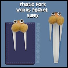 Walrus Craft - Arctic Animal Crafts - Walrus Craft Made from a Bent Fork - Walrus Pocket Buddy Craft from www.daniellesplace.com