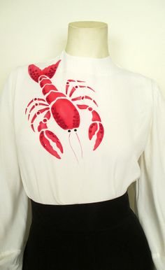 1940's Hand Painted Lobster Blouse | Catnip Reproduction Vintage Clothing