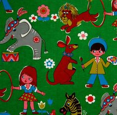 1000 images about vintage kids fabrics and wall paper on for Retro kids fabric