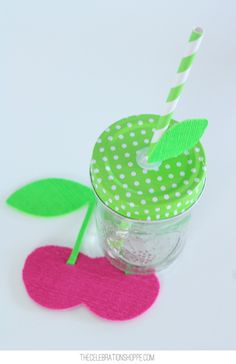 DIY Summer Fruit Coasters Made with the Cricut Explore Air // Fun Summer Decor // DIY Summer Party Decor with Fun Mason Jars