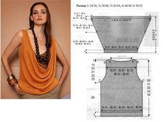 Patrón de camiseta escotado con cuello drapeado.