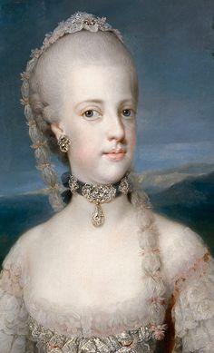 1768 María Carolina de Habsburgo-Lorena, reina de Nápoles by Anton Rafael mengs (Museo Nacional del Prado - Madrid, Spain) headdress and necklace