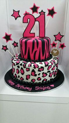 A cool animal print 21st bday cake design!