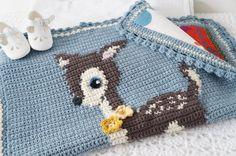 Intarsia deer crochet pattern bambi baby blanket graphghan newborn pattern crochet woodland nursery