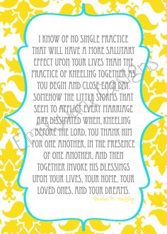 5x7 Prayer Quote by Gordon B Hinckley by EmilyJaneDesignsInc. , via Etsy... power of praying together as a couple