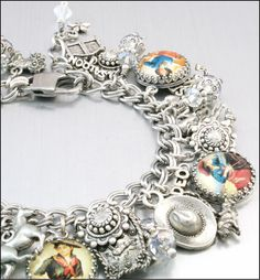 Western Silver Charm Bracelet Cowgirl Jewelry by BlackberryDesigns