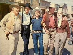 From 1958. Ward Bond, Gary Cooper, Gene Autry, John Wayne and George 'Gabby' Hayes. These Western icons appeared together for an episode of the tv series 'Wide Wide World'.