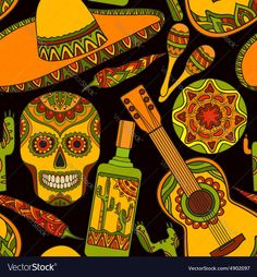 seamless pattern with traditional mexican symbols guitar cactus tequila chili pepper maracas sombrero. Download a Free Preview or High Quality Adobe Illustrator Ai, EPS, PDF and High Resolution JPEG versions.