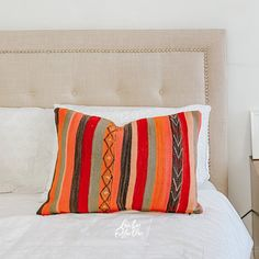 One-of-a-kind Moroccan kilim pillow made from vintage rugs. Lucky Collective #LuckyCollective Orange Throw Pillows, Diy Pillows, Custom Pillows, Kilim Pillows, Silk Pillow, Lumbar Pillow, Pillow Quotes, Floor Cushions, Pillow Inserts