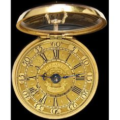 Gold watch and pair case, the watch signed 'Ja. Debaufre', the pair case with maker's mark 'H...' and chased and set with coloured glass, with London hallmarks for 1723-2 The Huguenot Debaufre family of clock-makers fled France because of Religious Persecution