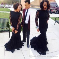 2016 New Lace Arabic Black Girl Prom Dresses Long Sleeves