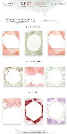 DIY Geometric Watercolor Wedding Invitation Backgrounds & Clipart, Table Number Decorations DIY   This set is perfect for watercolor wedding invitations, save the dates, event invitations, logos & branding & more. This set contains modern abstract watercolor splashes and rose gold geometric shapes to go with them. Also included are pre-made watercolor backgrounds for quick & easy projects. Click to see more>>