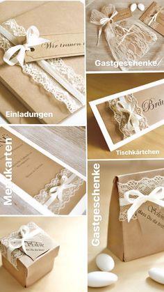 Einladungskarten, Tischkärtchen, Gastgeschenke. Menükarten, Dankeskarten  Zur Hochzeit   Vintage   Mit Spitze
