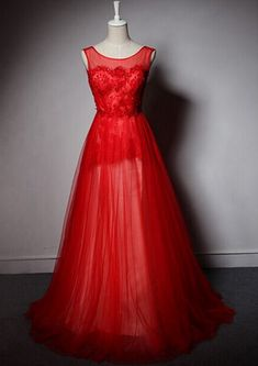 Custom Made Red Prom Dress, A-Line Prom Dress,Tulle