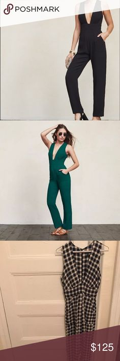 Reformation petites Cecile jumpsuit sz 2P Runs small in my opinion though I am not that familiar with reformation sizing. Fits like a 0. V neck line. Checked plaid. White and navy. Reformation Pants Jumpsuits & Rompers