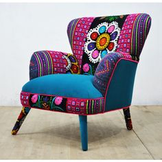 Suzani Armchair Turquoise Love featuring polyvore, home, furniture, chairs, accent chairs, chairs & ottomans, grey, home & living, living room furniture, grey furniture, telephone chair, grey armchair, gray chair and european furniture