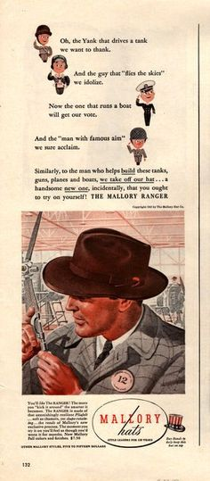 1943 Mallory Men's Hat print ad vintage decor by catchingcanaries