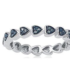 Sterling Silver Blue Diamond Rings | Sterling Silver zero.15ct TDW Blue Diamond Coronary heart Eternity ...