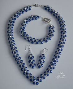 Cobalt blue pearls with sew on rhinestones for a bit of bling