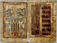 Evangéliaire de Charlemagne, Fontaine de Vie et début de l'Evangile de Matthier, Ecole du Palais, réalisé par GODESCALC 781-783.- CHARLEMAGNE. 5) ASPECTS GENERAUX DU REGNE. 5.6 RENAISSANCE CAROLINGIENNE, 21: L'EVANGILE DE GODESCALC, un évangéliaire écrit par un scribe Franc entre 781 et 783 sur ordre de Charles, est le 1° exemple daté d'écriture minuscule caroline.