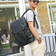 Simple Sleek New 2016 Fashion Black Leather Preppy-Style Backpack