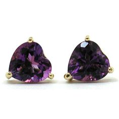 6mm Amethyst heart earrings