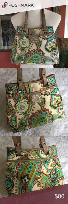 Spartina 449 Shoulder Bag NWT / Leather & Linen / Paisley Design / Comfortable Shoulder Straps / Interior & Exterior Pockets Spartina 449 Bags Shoulder Bags