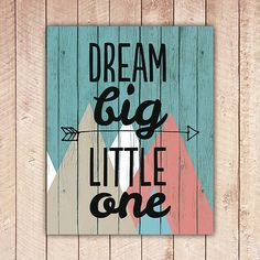 Nursery Printable, Dream Big Little One, Nursery Art, Tribal Wood Nursery Decor, Instant Download, Black and White DBLO
