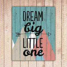 Nursery Printable, Dream Big Little One, Nursery Art, Tribal Wood Nursery Decor, Instant Download, Black and White DBLO